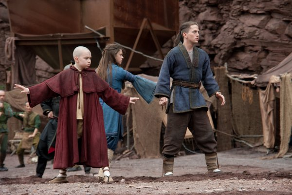 "Noah Ringer plays Aang, Nicola Peltz plays Katara, and Jackson Rathbone plays Sokka in the Paramount Pictures/Nickelodeon Movies adventure, ""The Last Airbender."""