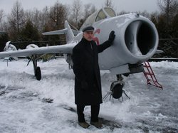 Ralph Wetterhahn by a MiG-15, Moscow.