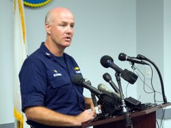 Coast Guard Captain Marcus Woodring, commanding office of Sector Houston-Galveston, confirmed the report of tar balls on Galveston beaches during a news conference at addresses the media at a news conference Monday.