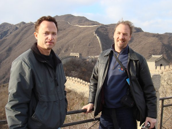"Composer/cameraman Billy Sullivan and director Roger Nygard at the Great Wall of China in ""The Nature of Existence"""