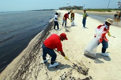 Workers clean up oily globs that washed ashore from the Deepwater Horizon oil...