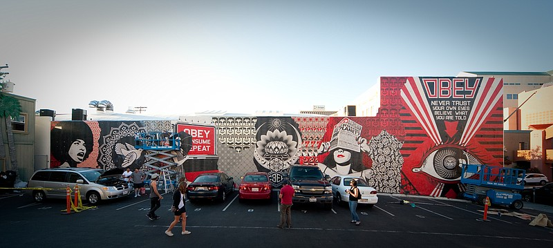 A work by artist Shepard Fairey, located at 5th in University in Hillcrest.