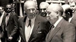 Secretary of State George Shultz (left) meets with the new leader of the Sovi...