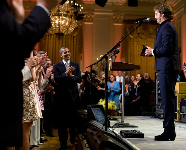 Paul McCartney upon receipt of the Library of Congress Gershwin Prize for Popular Song, as President Barack Obama, First Lady Michelle Obama, Malia Obama, Sasha Obama and Marian Robinson attend the concert honoring McCartney in the East Room of the White House. June 2, 2010.