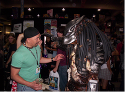 Meeting a Predator on the convention floor at Comic-Con International.