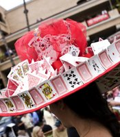 This is the second opening day celebration for Daniela from Imperial Beach. It took her two months to make this hat out of playing cards.