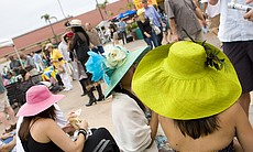 Large and colorful hats filled the Stretch Run Plaza de Mexico at Del Mar rac...