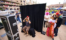 There was a photo booth set up in the Plaza de Mexico for attendees to captur...