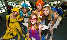 A group of young girls dress as Pokemon characters at Comic-Con, 2010.