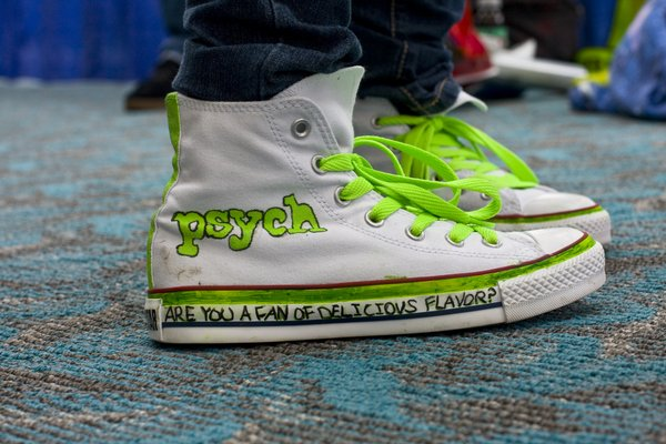 "A fan of the show ""Psych"" designed her own tennis shoes."