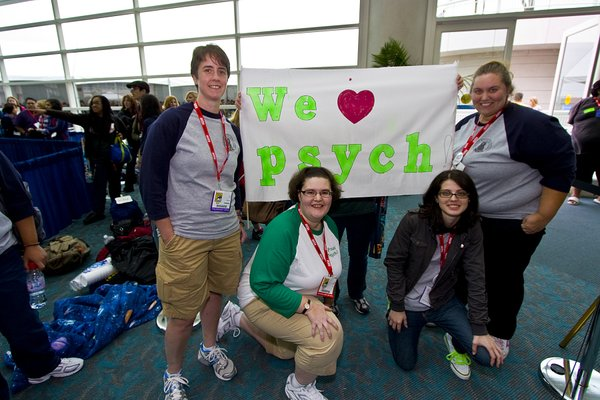 "Jamie Chew, Sara Unrein, Denise Forester, and Mindel Hale are fans of the television show ""Psych."" They wait in line to get into a panel featuring the show's writers and actors."