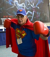 """This gentlemen introduced himself as simply """"The Superman."""" A crowd gathered around him as he announced he was using his superpowers to Comic-Con in San Diego."""