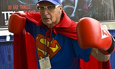 "This gentlemen introduced himself as simply ""The Superman."" A crowd gathered around him as he announced he was using his superpowers to Comic-Con in San Diego."