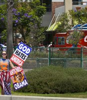 There were religious protesters across the street from Comic-Con.