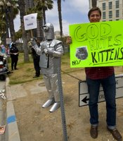 This protester seemed to take his cue from the religious protesters, but with a whole new twist.