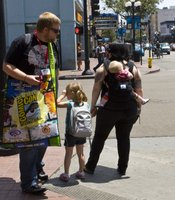 I asked this family from Los Angeles if it was difficult to navigate Comic-Con as a family. They said it wasn't hard at all. Of course, they now have a very large diaper bag.