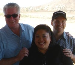 "Sandra Redman, KPBS Membership Operations and Distribution Manager and spouse John Redman with Huell Howser, Host of ""California's Gold"" and ""Road Trip with Huell Howser""."