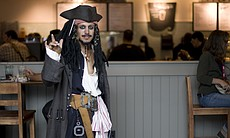 A Comic-Con cosplayer dressed as Jack Sparrow b...