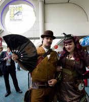 A steampunk couple at Comic-Con, International.