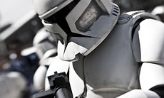 A stormtrooper works day two of Comic-Con Inter...