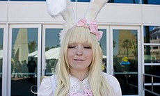 Courtney Riley is from San Diego. She did her makeup in a style popular in Lolita culture at this time.