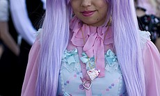 "The three main types of Lolitas are gothic, classic, and sweet.  The Lolitas at the meet-up were mostly ""sweet Lolitas."""