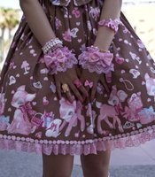 "Courtney Riley described the popular print styles on the poofy skirts as ""crazy hyper bunnies."" This skirt was worn by 19-year-old Christine Ta."