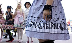 There are different kinds of Lolitas, but the style is characterized by knee-length skirts, knee socks, mary-jane shoes, and some kind of head wear.