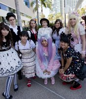 Young women gathered from all over the US for the Lolita meet-up at Comic-Con. Lolita is a style of fashion that originated and then took off in mid-90s Japan.  The style is unrelated to the classic novel written by Vladimir Nabokov.