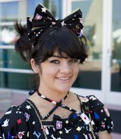 Sara Breuer, 19, lives in Los Angeles. She wears a bow in her hair, a common accessory in the Lolita style.