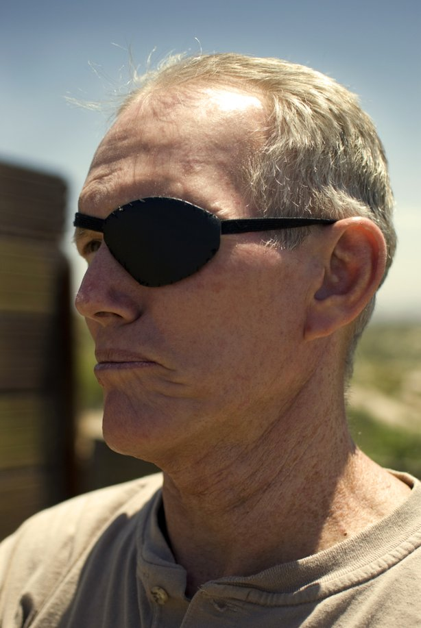 Britt Craig, 61, is also a Vietnam War veteran. He lost an eye from a grenade explosion during his duty. Britt lives in his van four days a week to watch the border near Campo (East San Diego County).