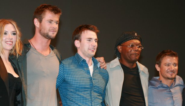 Scarlett Johansson, Chris Hemsworth, Chris Evans, Samuel L. Jackson, and Jeremey Renner make up part of Marvel's Avengers team.