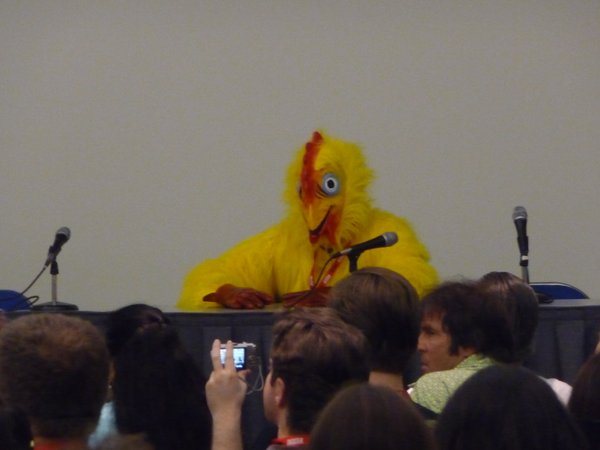 A chicken was on the panel with Bill Plympton. I came in late so I can't explain but it was amusing.