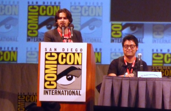 "Edgar Wright and Bryan Lee O'Malley at the ""Scott Pilgrim"" film panel."