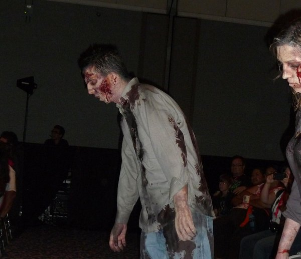 "The undead walked through the panel for ""The Walking Dead."""