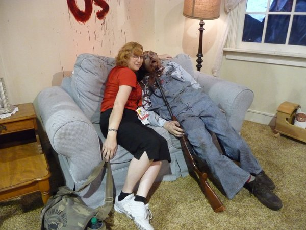 Snuggling up to the undead on Saturday.