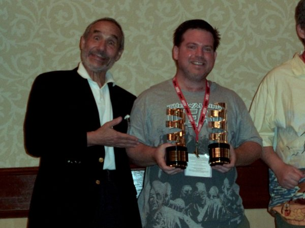 "Film festival judge Lloyd Kaufman and winner Kevin Walsh (Best Documentary and Judge's Choice for ""Marwencol"")."