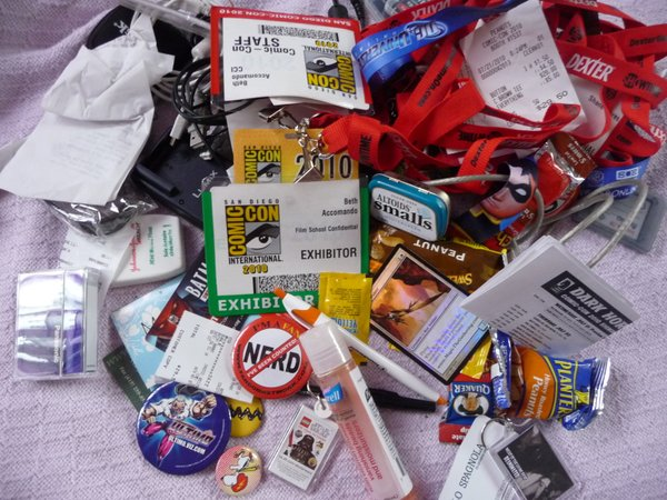 The contents of my bag at the end of Comic-Con.