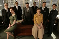 "The cast of AMC's hit series ""Mad Men,"" which began season four on Sunday."