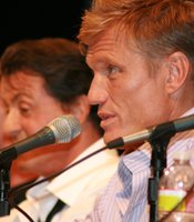 "Dolph Lundgren at ""The Expendables"" panel. (Photo by: Tony Weidinger)"