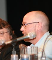 "Del Toro (left) and director Troy Nixey at the ""Don't Be Afraid of the Dark"" panel. (Photo by: Tony Weidinger)"