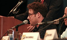 "Seth Rogen at the ""Green Hornet"" panel. (Photo by: Tony Weidinger)"