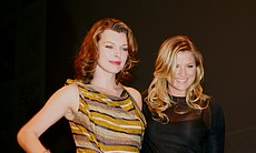"Co-stars of ""Resident Evil: Afterlife"" Milla Jovovich and Ali Larter at Hall H. (Photo by: Tony Weidinger)"