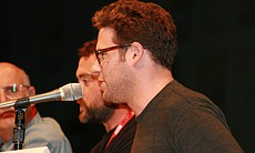 "Seth Rogen on the ""Paul"" panel noted that since he's lost weight people mistake him for J.J. Abrams, and he says boy do people at the Con like J.J.! (Photo by: Tony Weidinger)"