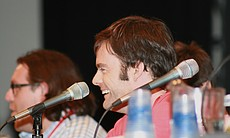 "Bill Hader joined the ""Paul"" panel, and was asked if the cops from ""Superbad"" (Hader and Rogen) had to fight the cops of ""Hot Fuzz"" (Pegg and Frost) who would win? Pegg noted that if cops were fighting cops it would be a sorry state of affairs... that being said the ""Hot Fuzz"" cops would win hands down. (Photo by: Tony Weidinger)"