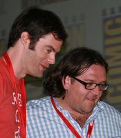 "Bill Hader and Nick Frost exiting the ""Paul"" panel. (Photo by: Tony Weidinger)"