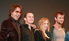 "Robert Downey, Jr. (Tony Stark/Iron Man), Clark Gregg (Agent Phil Coulson, aka the ""glue"" that holds this cinematic Marvel universe together), Scarlett Johansson (Black Widow), and Chris Hemsworth (Thor). (Photo by: Tony Weidinger)"