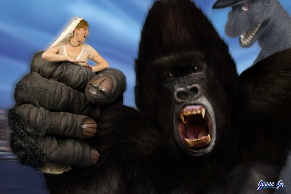 And the finished picture of King Kong stealing me away from Big G.