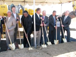 Scripps Health officials break ground on the site of the new cancer center on August 5, 2010. When it's completed in 2013, the $185 million facility will feature state-of-the-art proton therapy for cancer patients.