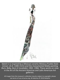 "A sketch from fashion designers Kate and Laura Mulleavy (Rodarte) for LACMA's ""Cell Phone Stories."""